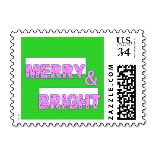 MERRY & BRIGHT POSTAGE STAMP